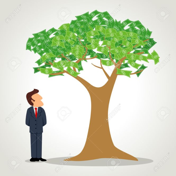 34886192-Simple-cartoon-of-a-businessman-standing-next-to-the-money-tree-Stock-Vector