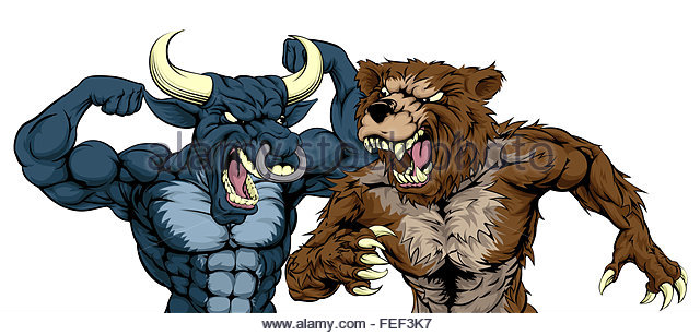 a-cartoon-bear-fighting-a-cartoon-bull-mascot-character-standing-for-fef3k7